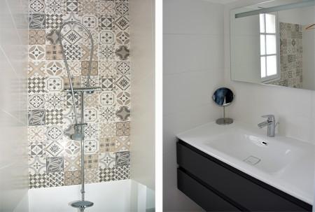 Villa de la Plage : la salle de bain au RDC avec douche